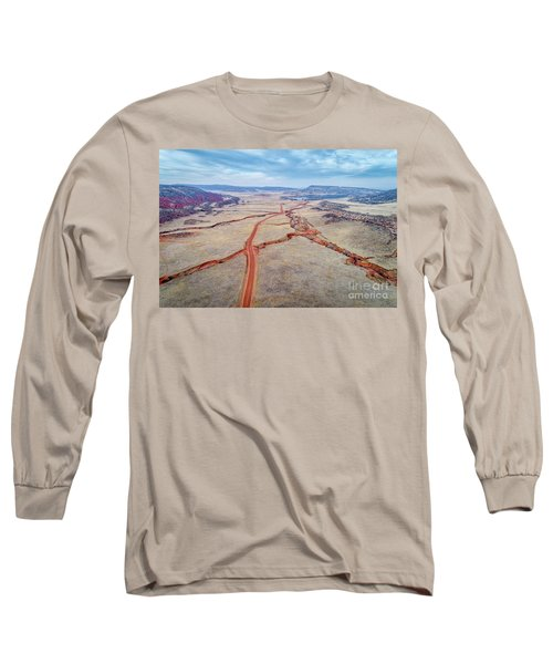 northern Colorado foothills aerial view Long Sleeve T-Shirt