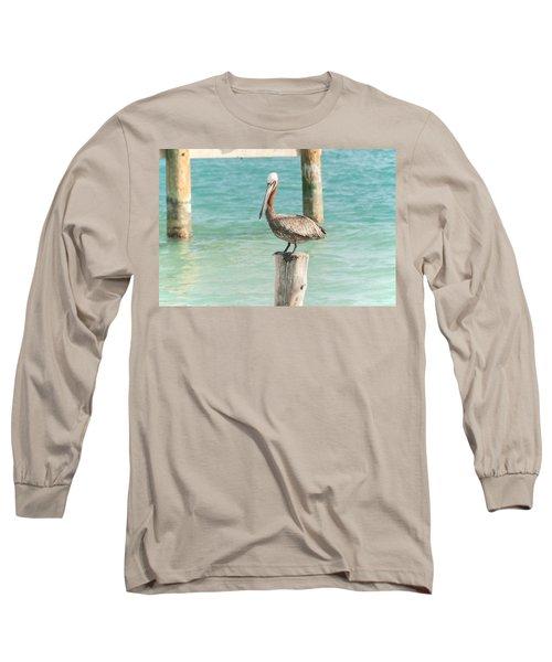 Pelican At Isla Mujeres Long Sleeve T-Shirt