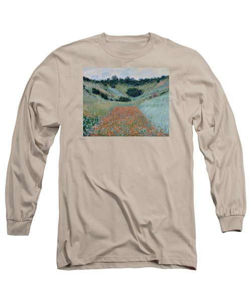 Poppy Field In A Hollow Near Giverny Long Sleeve T-Shirt by Claude Monet