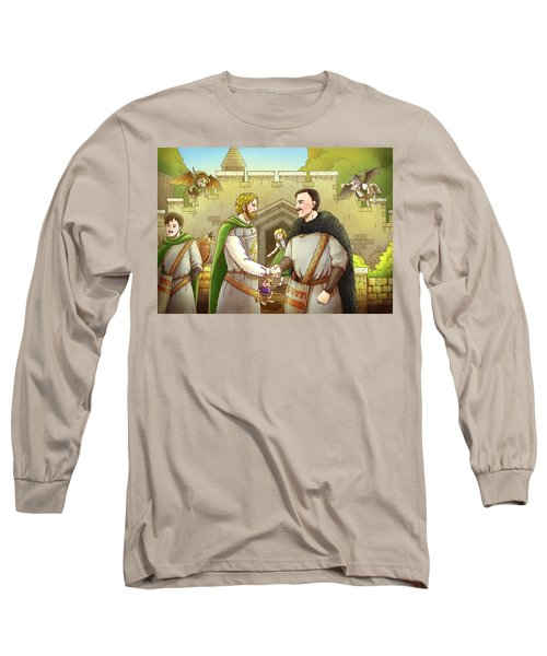 Robin Hood And The Captain Of The Guard Long Sleeve T-Shirt by Reynold Jay