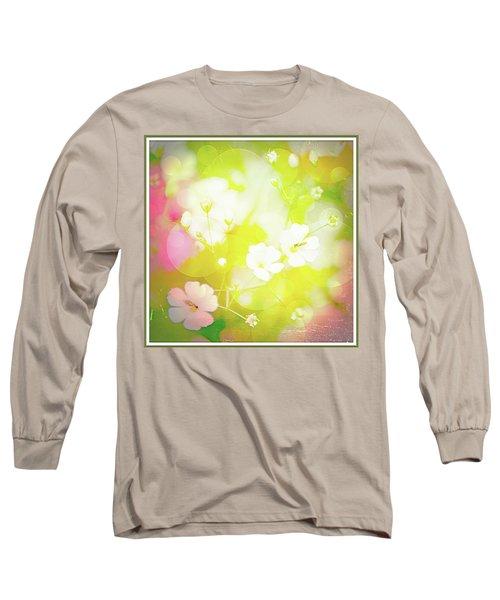 Summer Flowers, Baby's Breath, Digital Art Long Sleeve T-Shirt