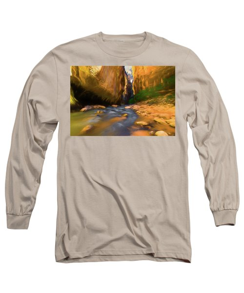 Virgin River - Zion National Park Watercolor Long Sleeve T-Shirt
