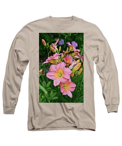 2015 Summer At The Garden Daylilies 1 Long Sleeve T-Shirt