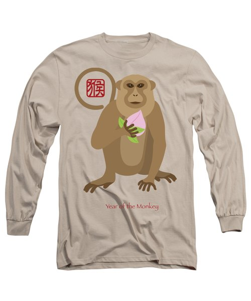 2016 Chinese Year Of The Monkey With Peach Long Sleeve T-Shirt