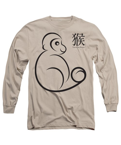 2016 Year Of The Monkey Line Art Long Sleeve T-Shirt by Jit Lim