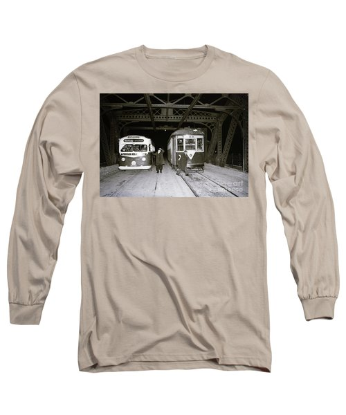 Long Sleeve T-Shirt featuring the photograph 207th Street Crosstown Trolley by Cole Thompson