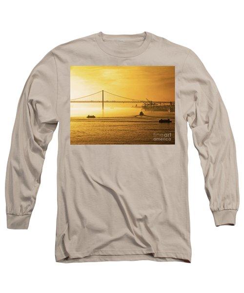 25 April Bridge River Tagus Lisbon At Sunset Long Sleeve T-Shirt