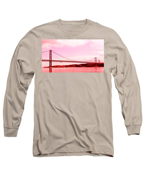 Long Sleeve T-Shirt featuring the photograph 25 De Abril Bridge In Crimson by Lorraine Devon Wilke