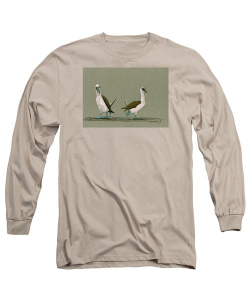 Blue Footed Boobies Long Sleeve T-Shirt by Juan  Bosco