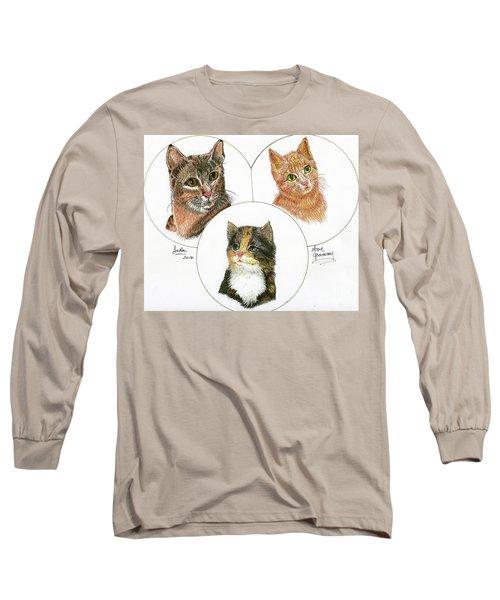 3 Cats For Juda Long Sleeve T-Shirt by Bill Hubbard