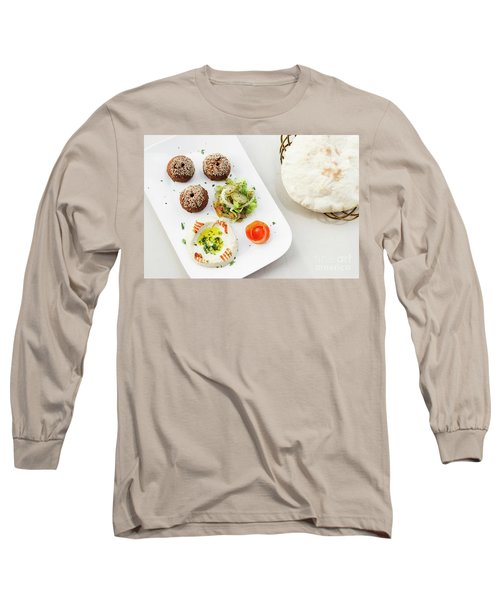 Falafel Hummus Houmus Starter Snack Food Mezze Platter Long Sleeve T-Shirt