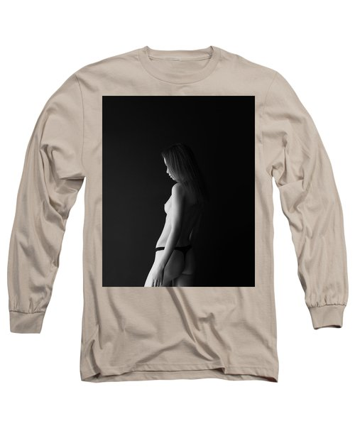 Girl In Front Of Black Wall Long Sleeve T-Shirt