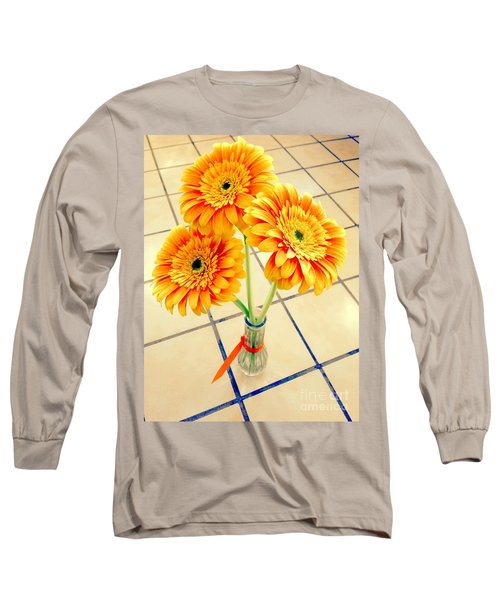 Long Sleeve T-Shirt featuring the photograph 3 Golden Yellow Daisies Gift To My Beautiful Wife Suffering With No Hair Suffering Frombreast Cancer by Richard W Linford