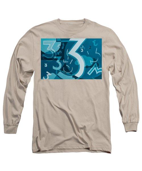 3 In Blue Long Sleeve T-Shirt