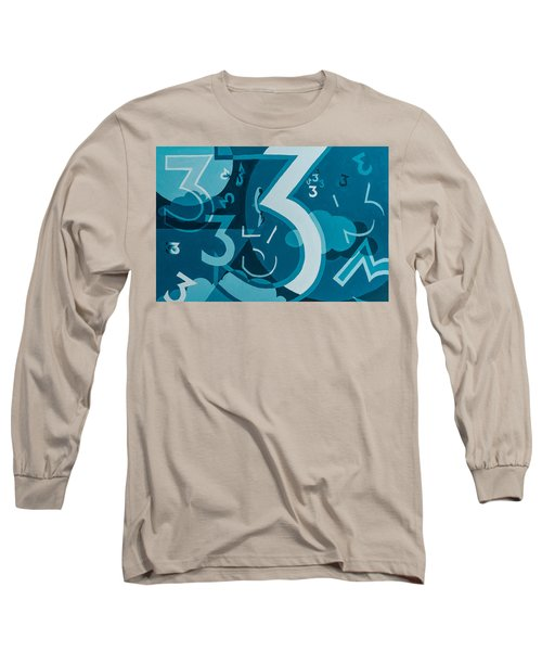 3 In Blue Long Sleeve T-Shirt