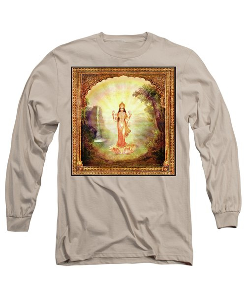 Lakshmi With The Waterfall Long Sleeve T-Shirt by Ananda Vdovic