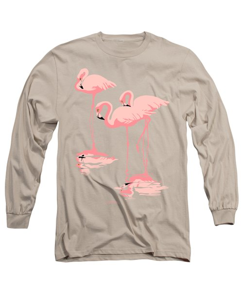 3 Pink Flamingos Abstract Pop Art Nouveau Graphic Art Retro Stylized Florida Long Sleeve T-Shirt