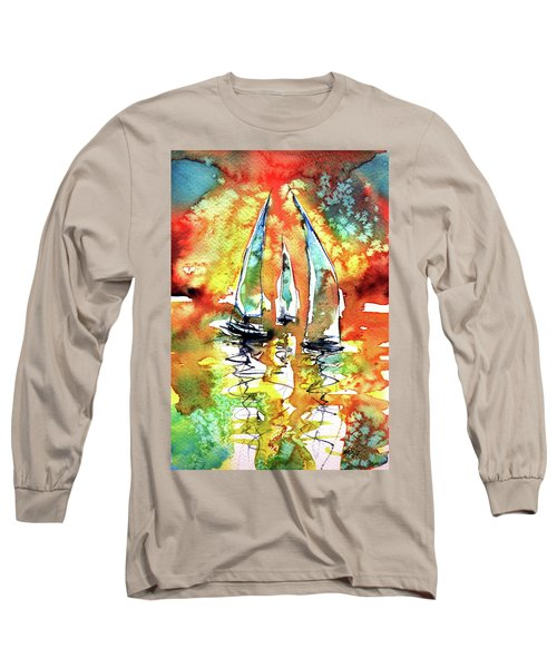 Sailboats Long Sleeve T-Shirt by Kovacs Anna Brigitta