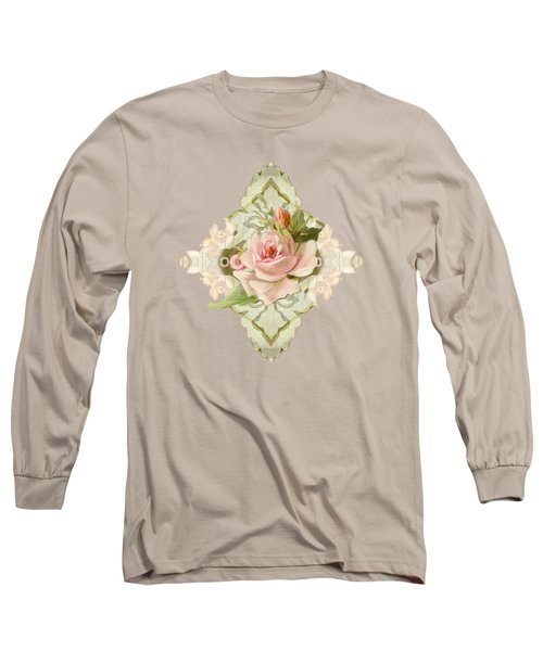 Summer At The Cottage - Vintage Style Damask Roses Long Sleeve T-Shirt