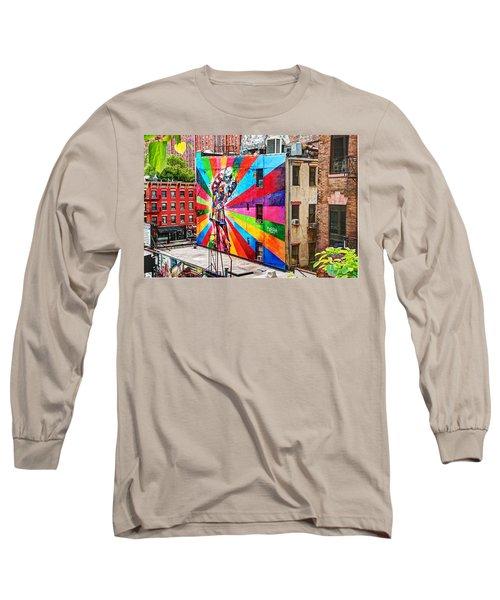 V - J Day Mural By Eduardo Kobra Long Sleeve T-Shirt