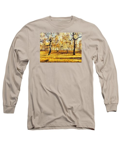 Watercolor Landscape Autumn Painting Forest Long Sleeve T-Shirt by Odon Czintos