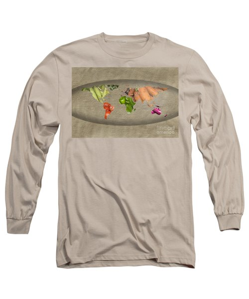 World Fruits Vegetables Map Long Sleeve T-Shirt