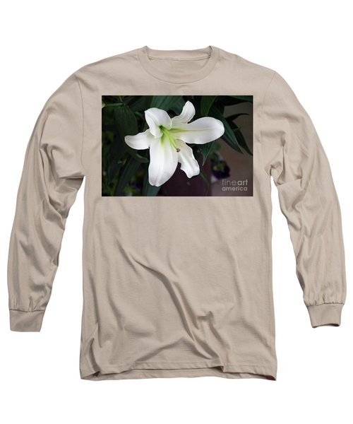 White Lily Long Sleeve T-Shirt by Elvira Ladocki