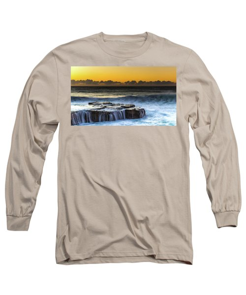 Sunrise Seascape With Cascades Over The Rock Ledge Long Sleeve T-Shirt