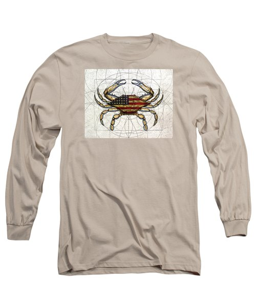 4th Of July Crab Long Sleeve T-Shirt by Charles Harden