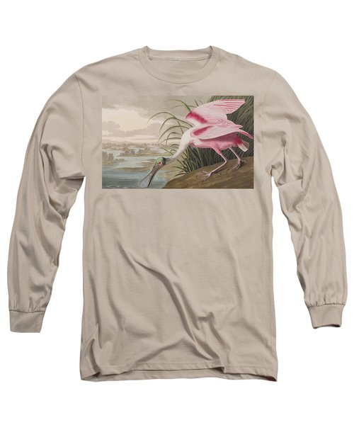 Roseate Spoonbill Long Sleeve T-Shirt by John James Audubon