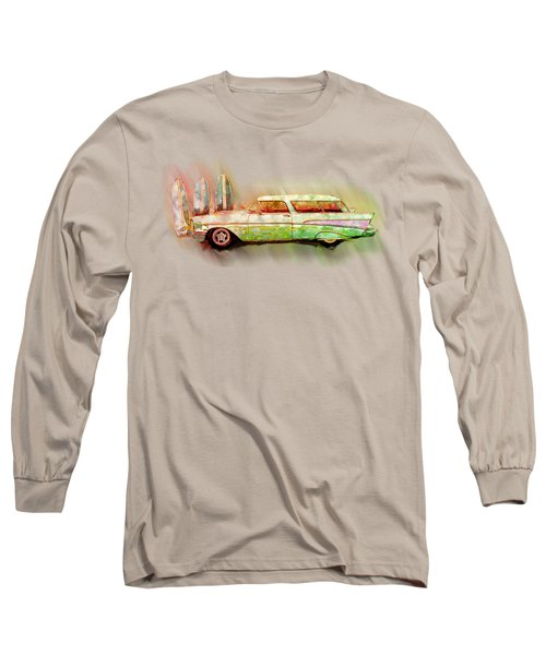 57 Chevy Nomad Wagon Blowing Beach Sand Long Sleeve T-Shirt