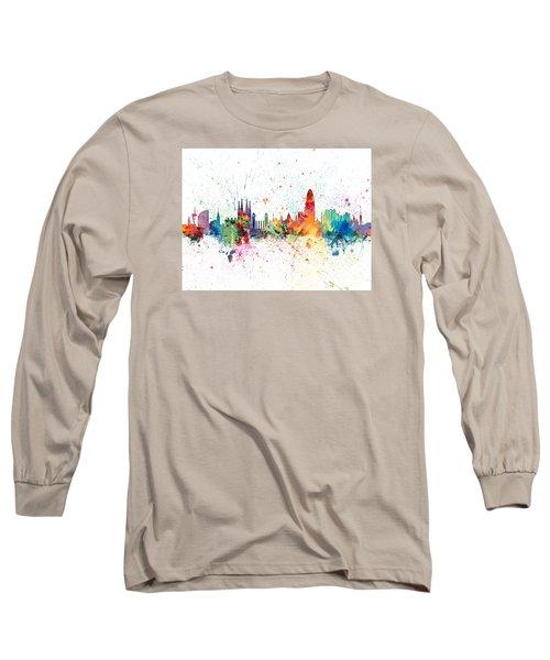 Barcelona Spain Skyline Long Sleeve T-Shirt by Michael Tompsett