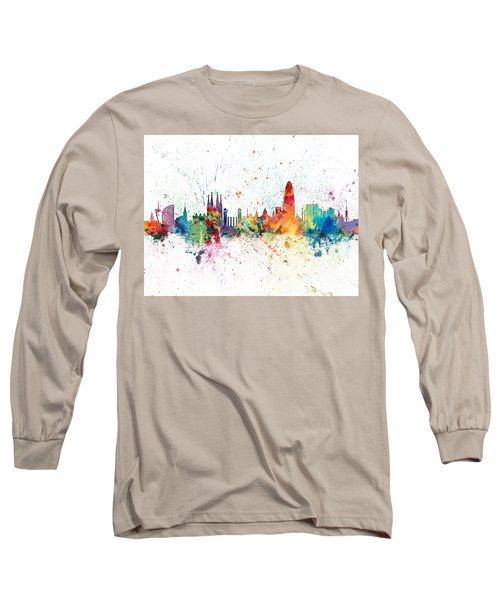 Barcelona Spain Skyline Long Sleeve T-Shirt