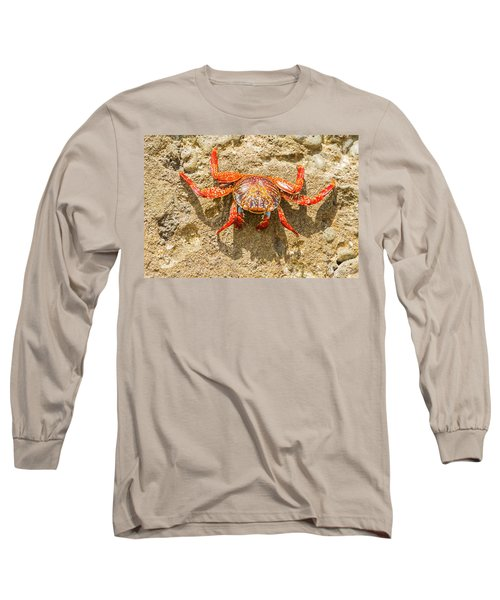 Sally Lightfoot Crab On Galapagos Islands Long Sleeve T-Shirt by Marek Poplawski