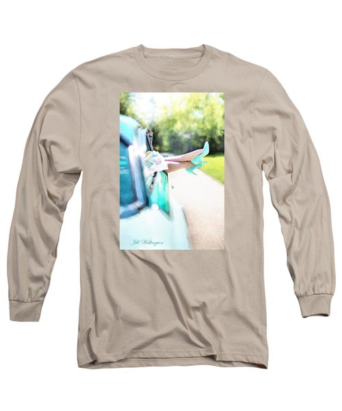Vintage Val In The Turquoise Vintage Car Long Sleeve T-Shirt by Jill Wellington
