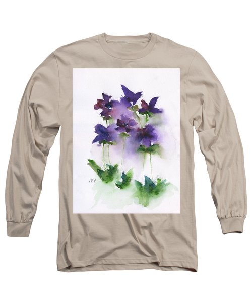 6 Violets Abstract Long Sleeve T-Shirt