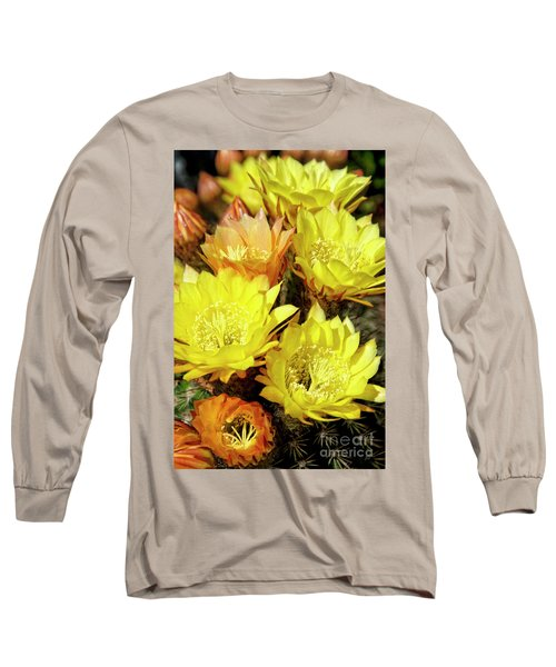 Yellow Cactus Flowers Long Sleeve T-Shirt by Jim And Emily Bush