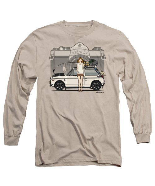 Honda N600 Rally Kei Car With Japanese 60's Asahi Pentax Commercial Girl Long Sleeve T-Shirt by Monkey Crisis On Mars