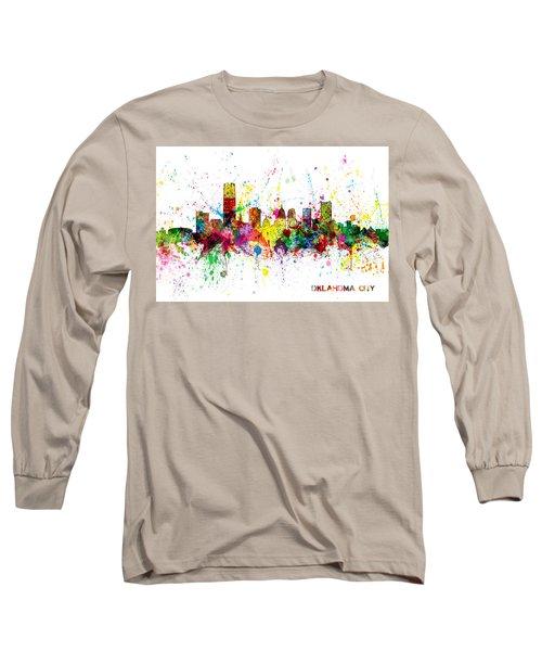 Long Sleeve T-Shirt featuring the digital art Oklahoma City Skyline by Michael Tompsett