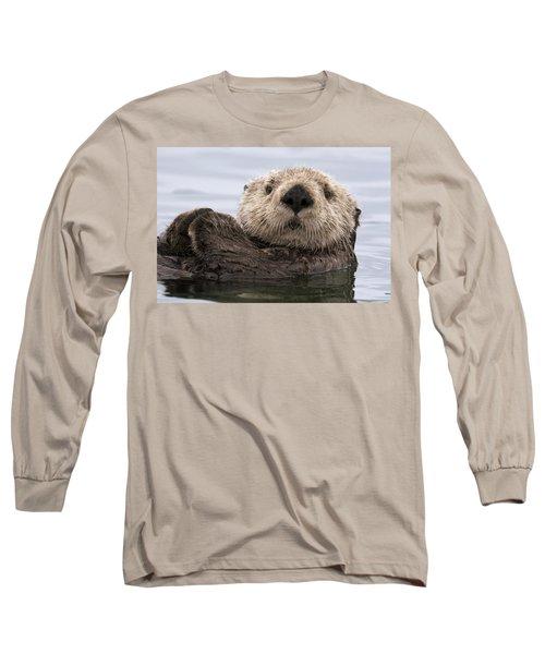 Sea Otter Elkhorn Slough Monterey Bay Long Sleeve T-Shirt by Sebastian Kennerknecht
