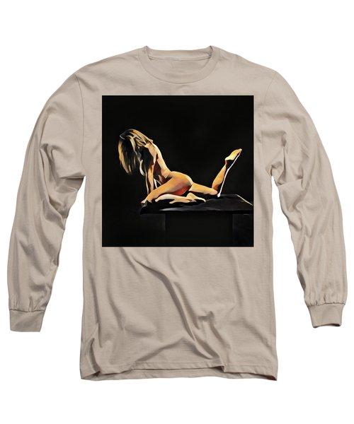 7038s-amg Watercolor Of Beautiful Mature Nude Woman Long Sleeve T-Shirt