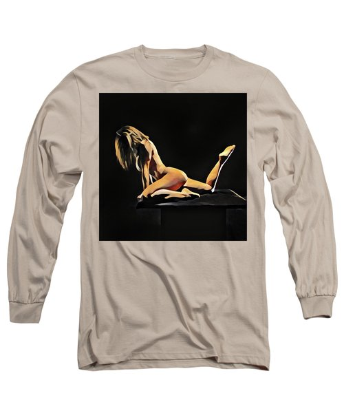 7038s-amg Watercolor Of Beautiful Mature Nude Woman Long Sleeve T-Shirt