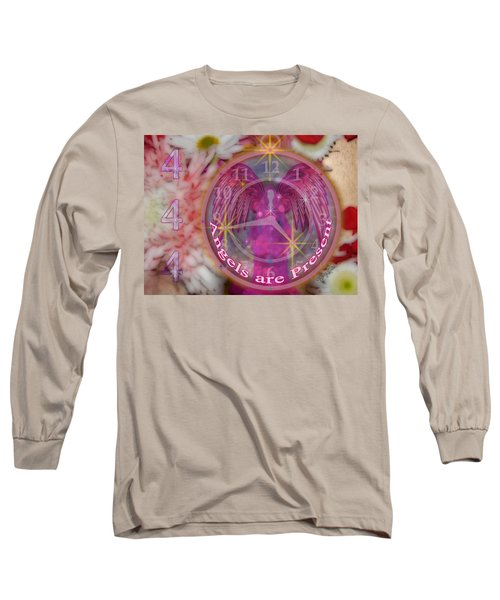 #8913_444 Angels Are Present  Long Sleeve T-Shirt by Barbara Tristan
