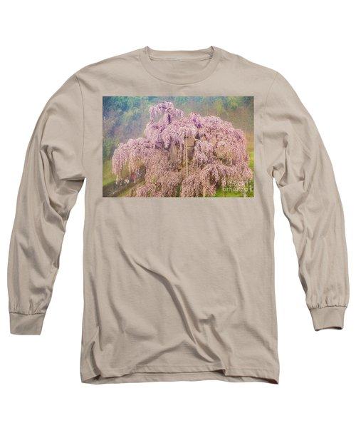 Long Sleeve T-Shirt featuring the photograph Miharu Takizakura Weeping Cherry09 by Tatsuya Atarashi