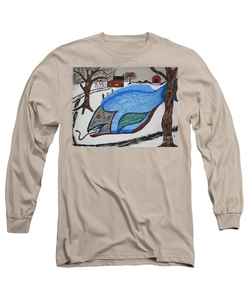 Long Sleeve T-Shirt featuring the painting A Big Fish Tale by Jeffrey Koss