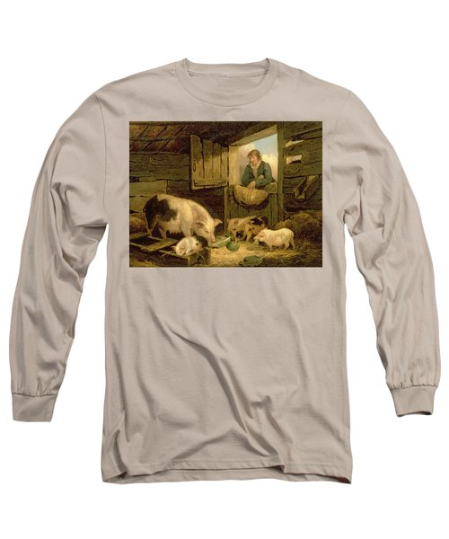 A Boy Looking Into A Pig Sty Long Sleeve T-Shirt by George Morland