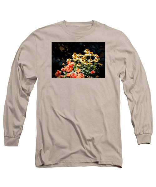 Long Sleeve T-Shirt featuring the photograph A Bright Flower Patch by AJ  Schibig