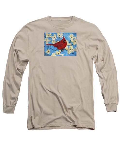 Long Sleeve T-Shirt featuring the painting A Cardinal Spring by Angela Davies