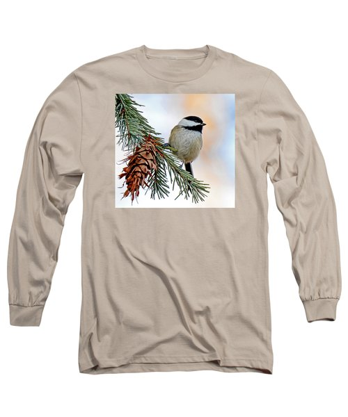 A Christmas Chickadee Long Sleeve T-Shirt by Rodney Campbell