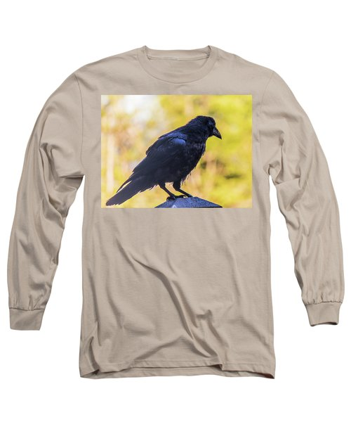 Long Sleeve T-Shirt featuring the photograph A Crow Looks Away by Jonny D
